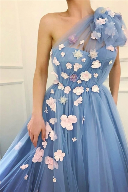 One Shoulder A-line Tulle Blue Prom Dresses with Handmade Flowers