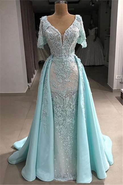 Short Sleeves V-neck Fitted Appliques Prom Dresses with Detachable Train