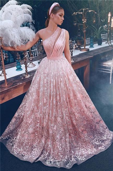 Delicate One Shoulder Appliques A-line Floor Length Prom Dresses | Cheap Long Evening Dresses