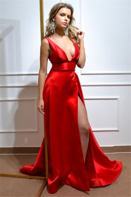 Deep V-neck Straps Belted Slits Sexy Prom Dresses | Silky Party Dresses