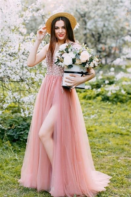 Lovely Straps V-neck Beaded Side Slit Tulle Prom Dresses   Glitter Long Party Dresses