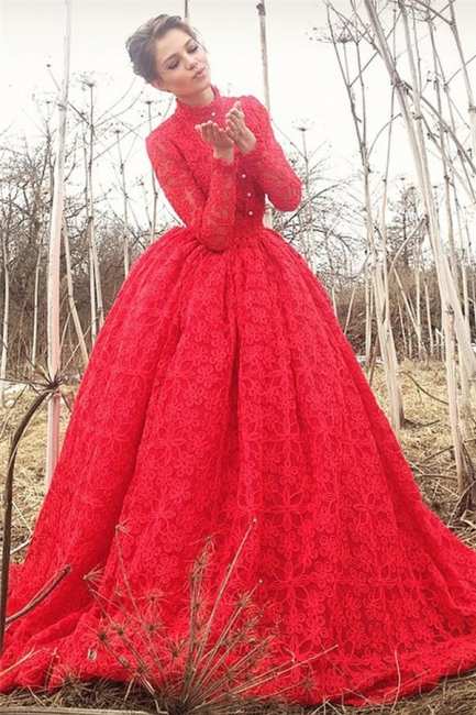 High Neck Long Sleeves Ball Gown Prom Dresses | Gorgeous Long Formal Dresses