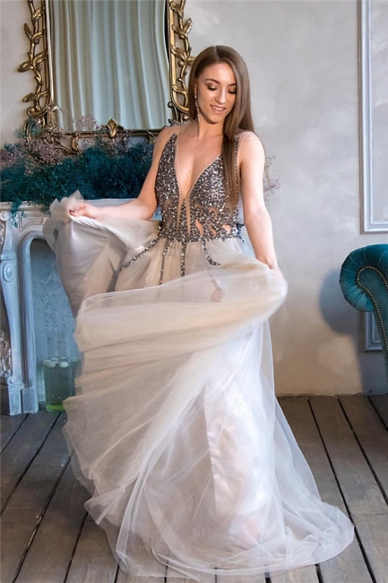 Glittery Straps V-neck Beaded Tulle Prom Dresses | Sexy Long Party Dresses
