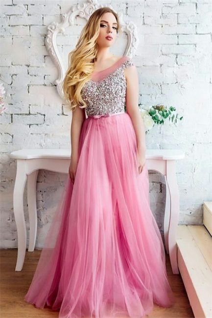 Cap Sleeves Bateau Beaded Belted Elegant Prom Dresses | Long Tulle Evening Dresses