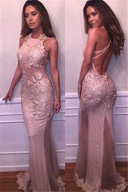 Delicate Mermaid Lace-Appliques Prom Dress 2018 Halter Sleeveless Evening Gowns BA4359