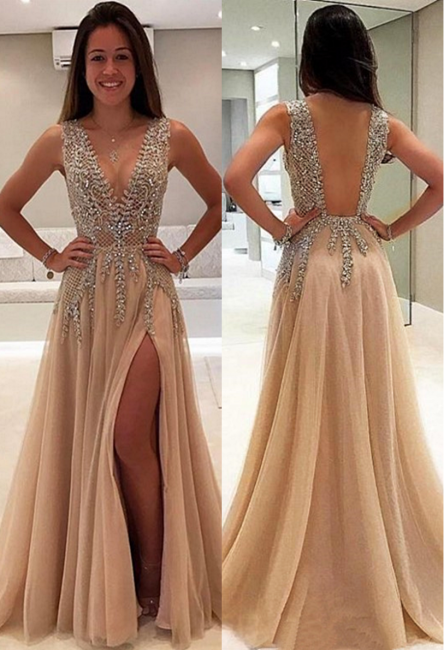 Luxury Beading Champagne Prom Dresses | V-Neck Long A-line Evening Gowns