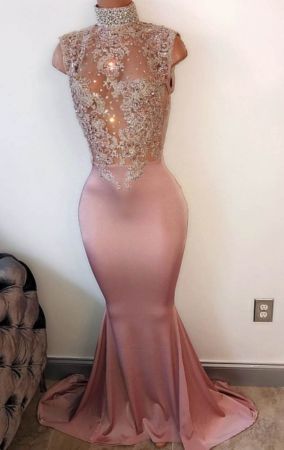 Modest High-Neck Sleeveless Prom Dress Mermaid Lace-Appliques Evening Gowns BA4598