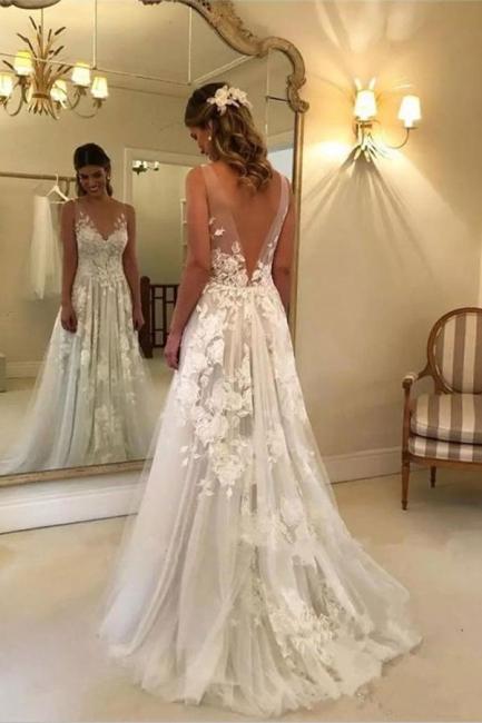 Elegant A-line Wedding Dresses | V-Neck Rose Appliques Backless Bridal Gowns