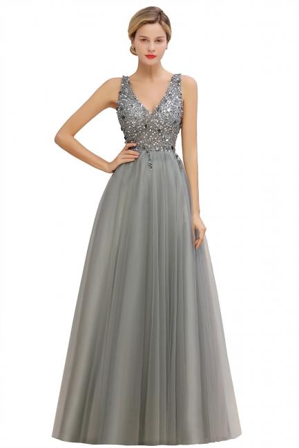 Straps V-neck Sheer Floor Length A-line Tulle Prom Dresses