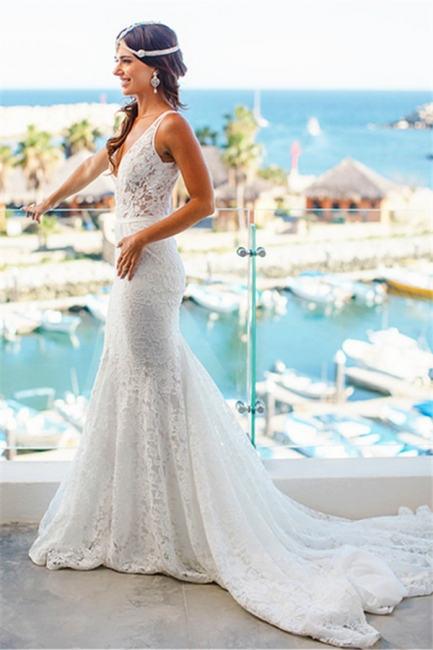 Deep V-Neck Sexy Mermaid Wedding Dresses | Lace Sleeveless Trumpet Bridal Gowns