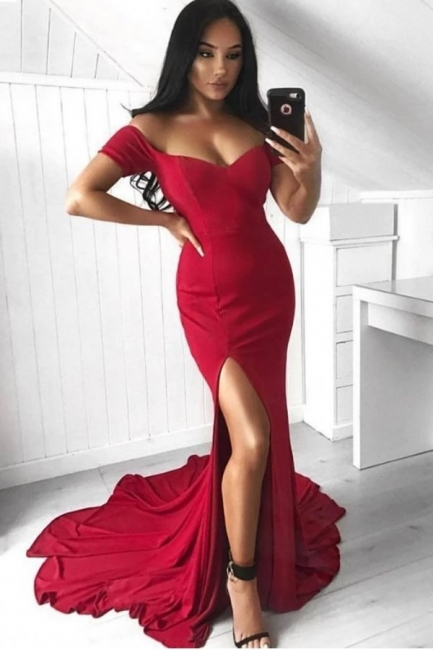 Red Off-the-Shoulder Prom Dresses | Sexy Split Evening Gowns