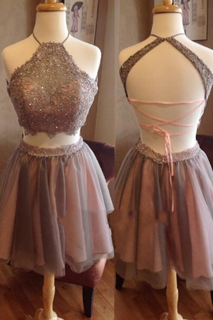 Two Piece Spaghettis Straps Lace Halter Neck Homecoming Dresses