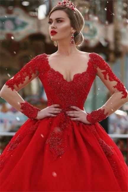 Gorgeous Long Sleeves V-Neck Princess Ball Gown Wedding Dresses