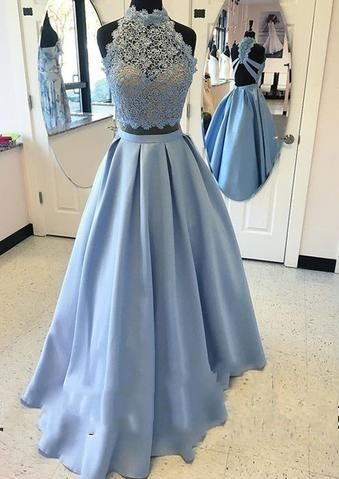 Lace Long High-neck A-line Two-pieces Blue Prom Dress