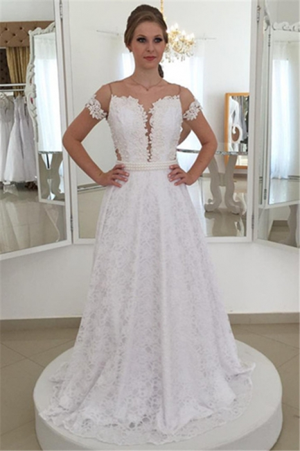 Pearls Short-Sleeve Long A-line White Elegant Lace Bow Wedding Dress