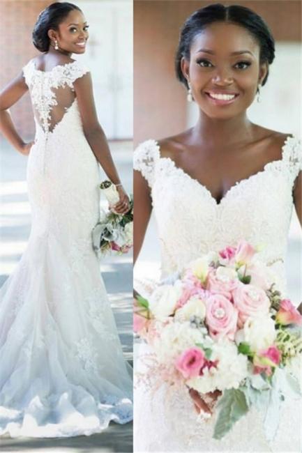 Elegant V-neck Sheath Sleeveless Long-Train Tulle Lace Sexy Wedding Dress