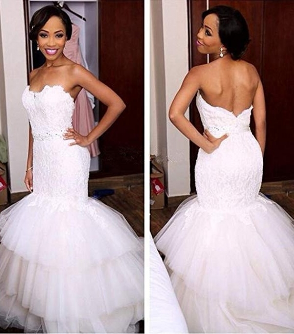 Tiered Tulle Appliques Sweetheart Crystal Mermaid Wedding Dresses