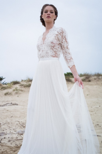 Modern Lace V-neck 3/4 sleeves Simple A-line Wedding Dresses
