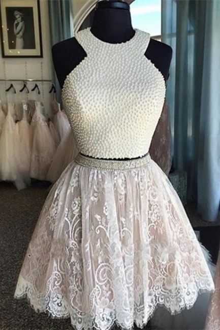 Luxury Short Pearls Two-Piece Lace Homecoming Dresses