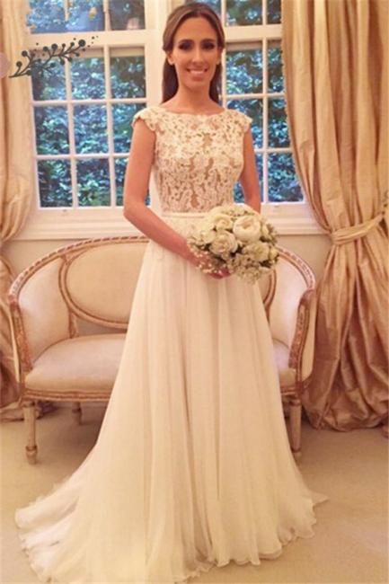 Elegant A-Line Zipper-Back Button Lace Tulle Wedding Dresses