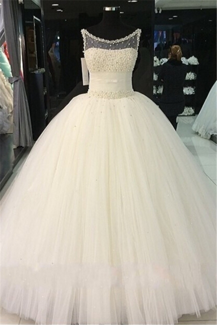 Gorgeous Princess Sleeveless Bridal Gowns Tulle Pearls Beadings Wedding Dresses