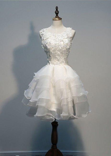 Sleeveless Lace-Appliques Lace Hot White Layers Organza Short Homecoming Dress