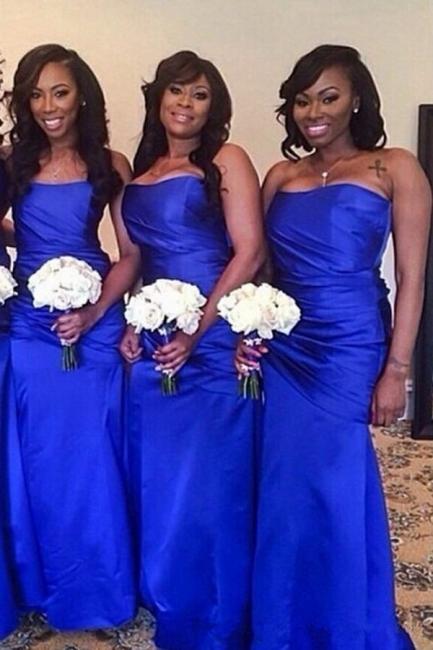 Elegant Royal Blue Strapless Floor Length Long Ruched Bridesmaid Dress
