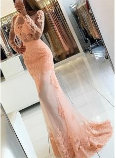 2018 Lace-Appliques Long-Sleeve Newest High-Neck Mermaid Prom Dress