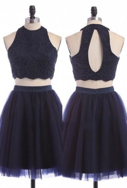 Zipper Mini Sexy Sleeveless Jewel Two-Piece Homecoming Dress