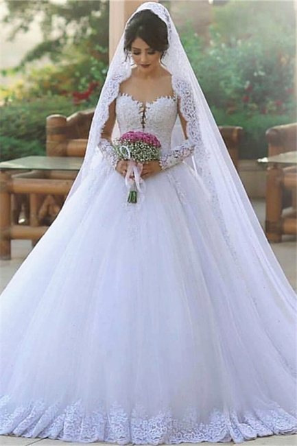 Tulle Ball Long-Sleeves Elegant Popular Appliques Wedding Dresses