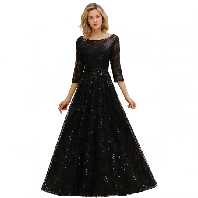Round Neckline Half Sleeves A-line Floor Length Black Prom Dresses