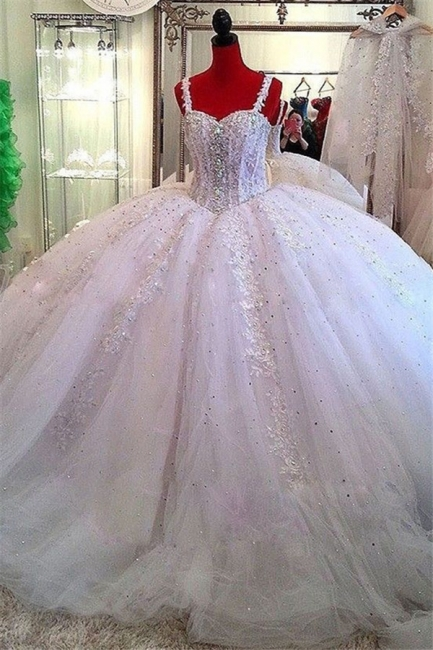 Ceystals Ball-Gown Straps Beading Sparkly Puffy Luxurious Lace Wedding Dress