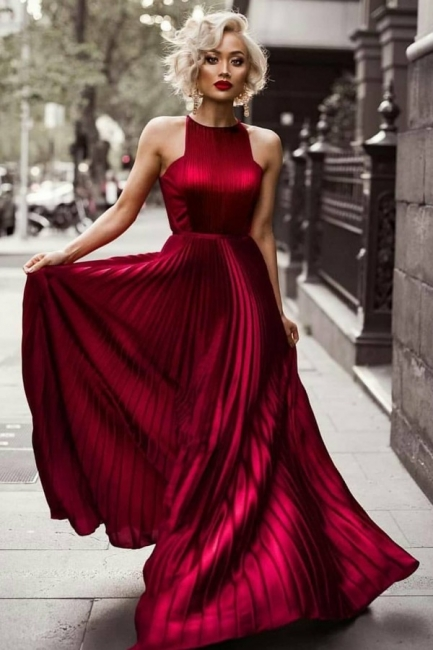 Sheath Burgundy Sleeveless Floor Jewel Dresses Length Pleats Prom Evening Dresses
