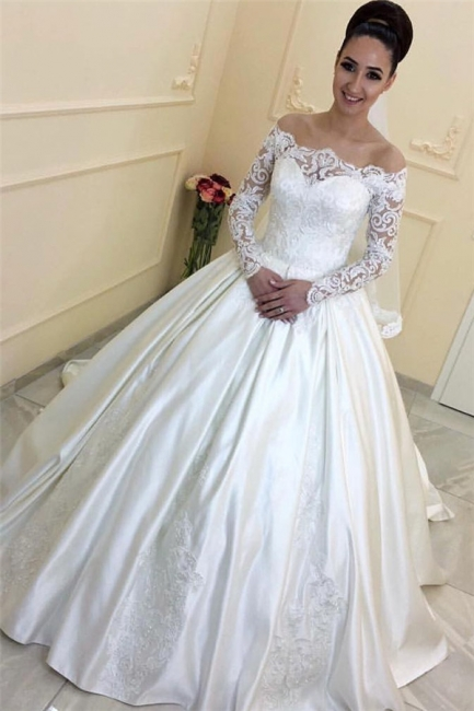 A-line Lace Long-Sleeves Sweep Train Off-the-Shoulder Wedding Dresses