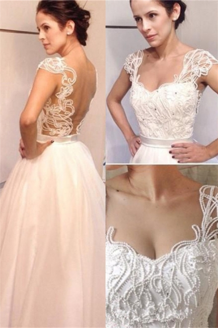 New Arrival Vintage White A-line Floor Length Pearls Backless Straps Wedding Dresses