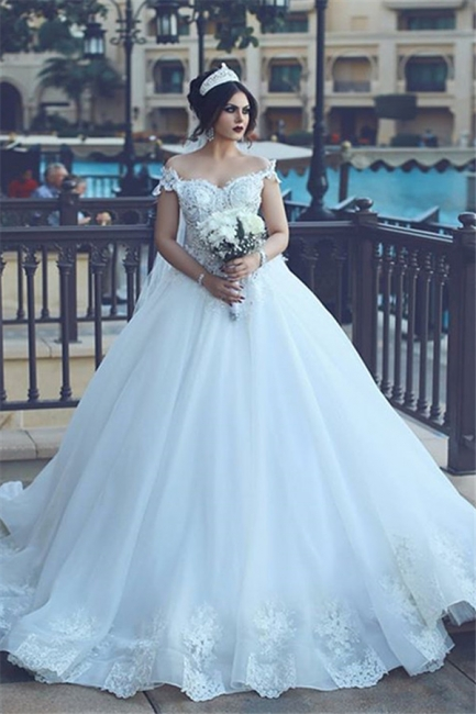 Vintage Off-the-Shoulder Wedding Dresses Crystal Tulle Ball Appliques Bridal Gowns