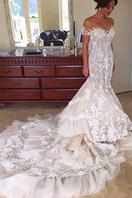 Elegant Tiered Appliques Off-the-Shoulder Tulle Mermaid Wedding Dress with Buttons