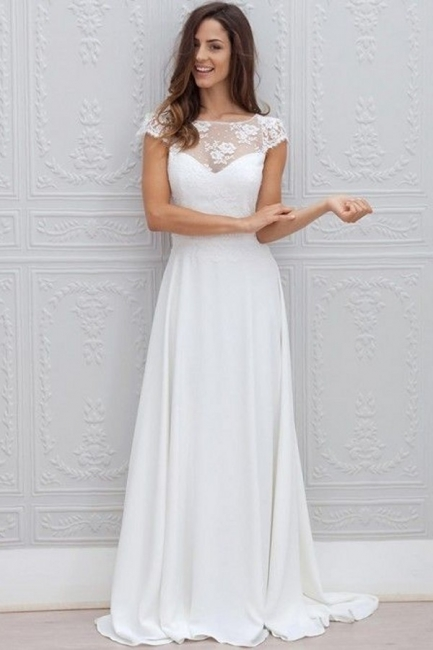 Simple Backless Short-Sleeves Chic A-line Sweep-train White Wedding Dress