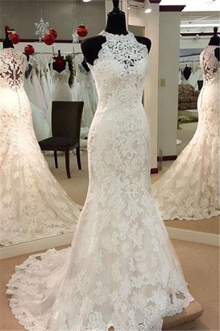 Elegant Mermaid Wedding Dresses | High Neck Lace Sleeveless Bridal Dresses