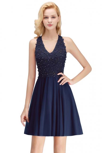 NONA | A-line V-neck Sleeveless Short Appliques Chiffon Homecoming Dresses