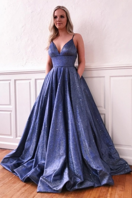 Spaghetti Straps V-neck Floor Length Metallic Prom Dresses | Trendy Party Dresses