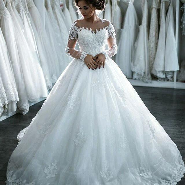 Elegant Sheer Lace Long Sleeves Bridal Ball Gown Beaded Wedding Dresses