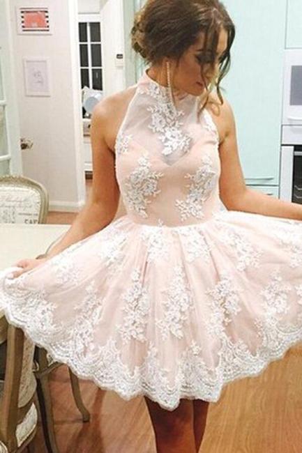 Cute Sleeveless Pink Lace Halter Neck Short Homecoming Dress