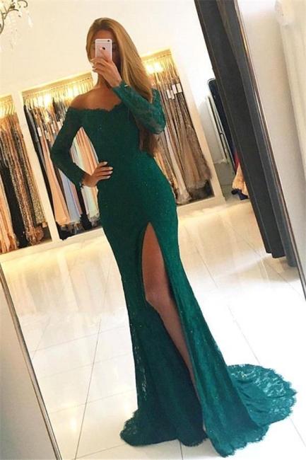 Lace Green Side-Slit Long-Sleeves Elegant Off-the-Shoulder Prom Dresses qq0379