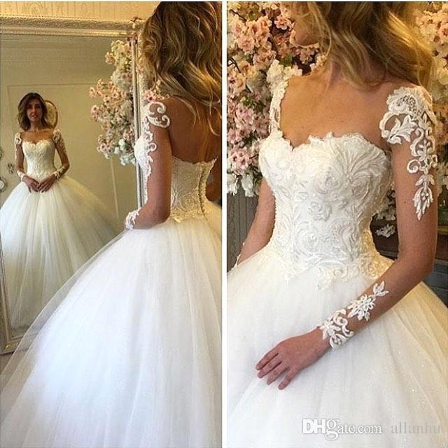 Long-Sleeves Lace-up Luxury Ball-Gown Lace Wedding Dresses