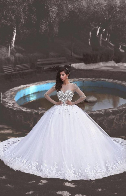 Glamorous Long Sleeves Ball Wedding Dresses Tulle Appliques Crytal Bridal Gowns