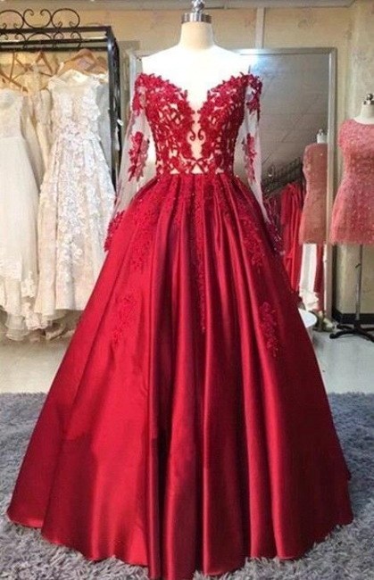 Red Lace Off-the-Shoulder Puffy Prom Dresses 2018 Appliques Long Sleeves Evening Gowns
