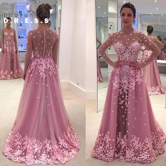 Pink Long Sleeves Lace Appliques Sheer Prom Dresses with Overskirt