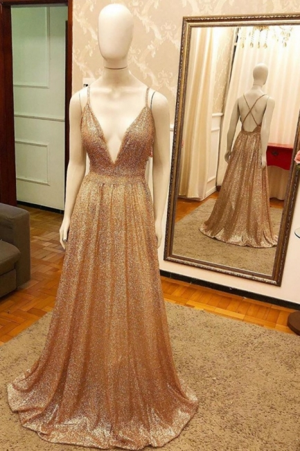 Deep V-neck Spaghetti Straps A-line Sparkly Gold Sequin Prom Dresses