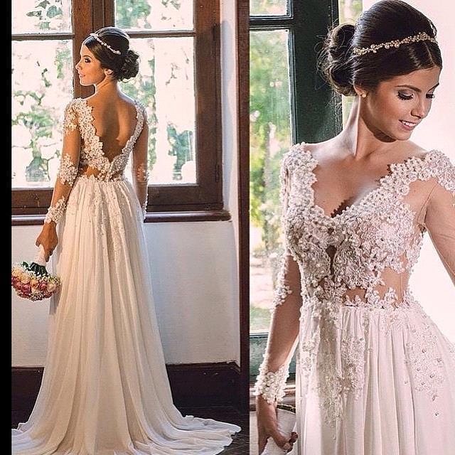 V-neck A-line Backless Chiffon Simple Sweep-Train Lace Wedding Dress